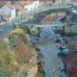 Staithes Beck and Bridge from Cowbar Top by David Curtis ROI RSMA