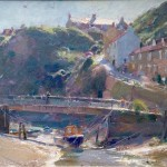 Staithes Beck and Cowbar Cottages by David Curtis ROI RSMA
