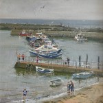Staithes Harbour Moorings by David Curtis ROI RSMA