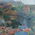 Staithes Rooftops to Cowbar Cottages by David Curtis ROI RSMA