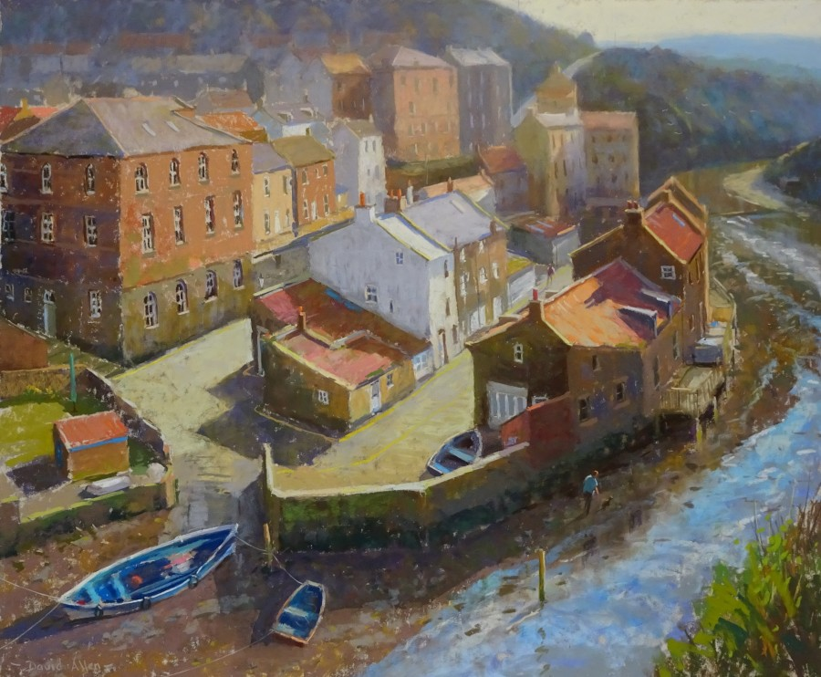Staithes at Low Tide by David Allen RSMA