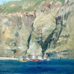 Steep Cliffs and the Outer Harbour, Staithes by David Curtis ROI RSMA