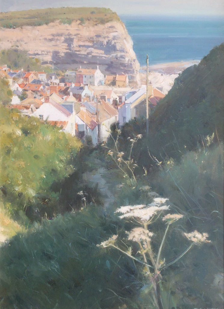 Steep Pathway to the Village, Staithes by David Curtis ROI RSMA