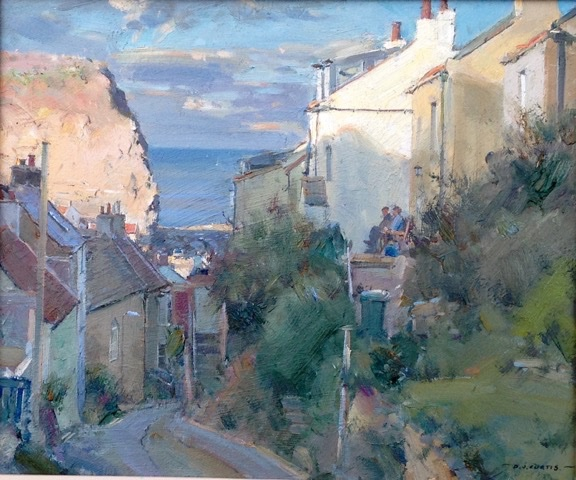Uk S In Colorado: Sun And Shadow, Church St, Staithes By David Curtis RSMA ROI