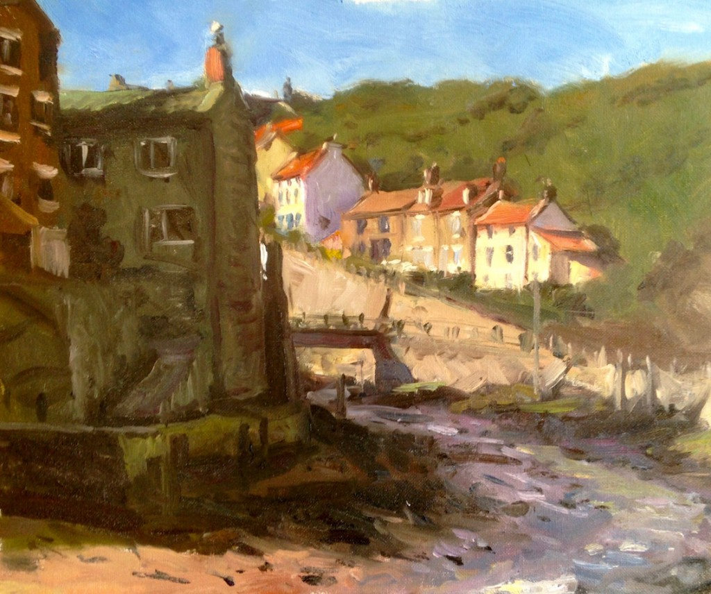 Sunlight on Cowbar Bank Cottages, Staithes by Bruce Mulcahy RSMA
