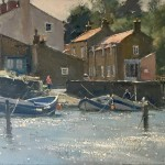 Sunlight on the Beck, Staithes by David Curtis ROI RSMA