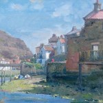 Sunshine in the Beck, Staithes by David Curtis RSMA ROI