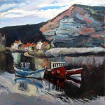 Cowbar Nab & North Side at Staithes by Susan Isaac