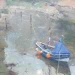 Tethered Coble, Staithes Beck by David Curtis ROI RSMA