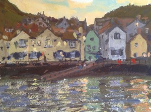 Twilight, Staithes Harbour by Bruce Mulcahy RSMA copy