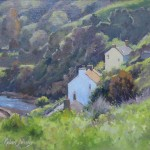 View from Cowbar, Staithes by Robert Brindley RSMA