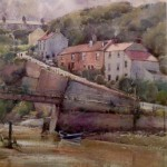 View to Cowbar Bank Cottages, Staithes by David Curtis RSMA ROI