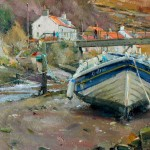 Winter Mooring in the Beck, Staithes by David Curtis